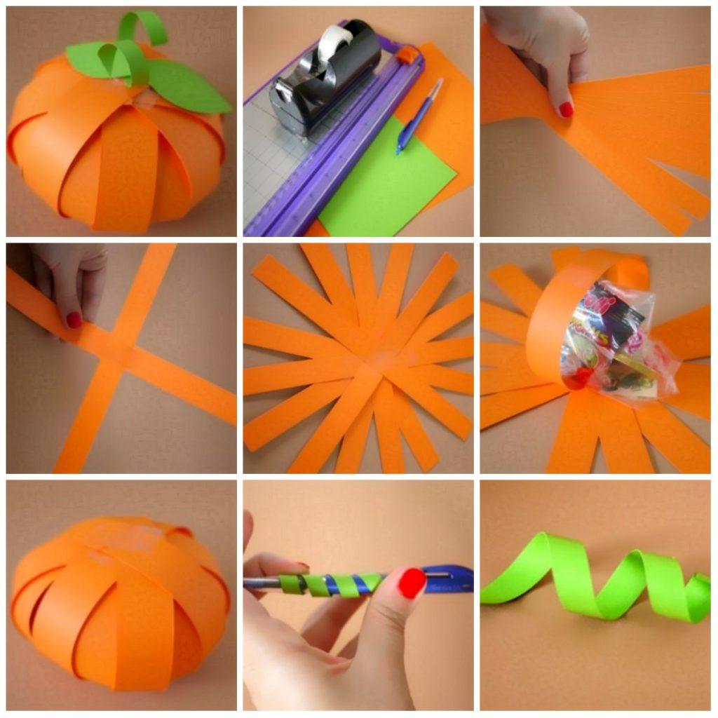 Изготовление тыквы из бумаги