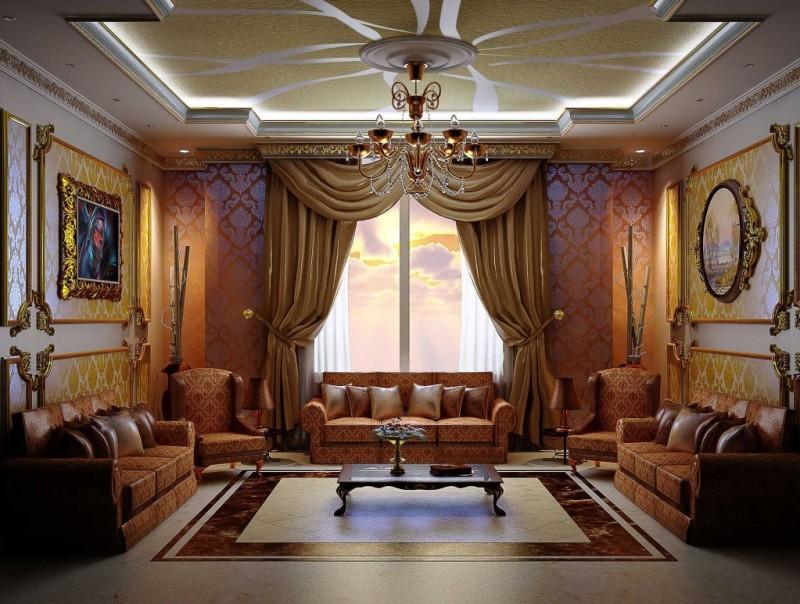 Объемные портьеры в гостиной