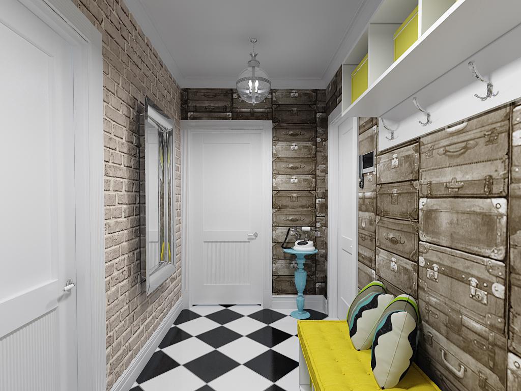 Декоративная отделка стен в интерьере прихожей