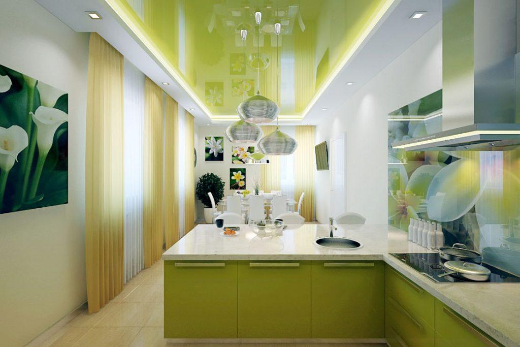 Глянцевый натяжной потолок в интерьере кухни