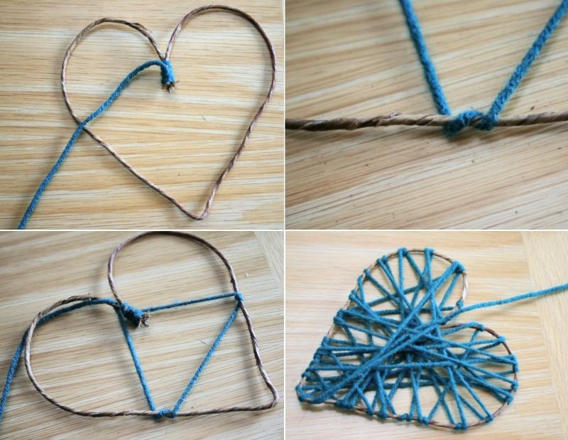 Обмотка сердца нитками