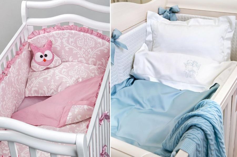 Розовое и голубое постельное белье для малышей