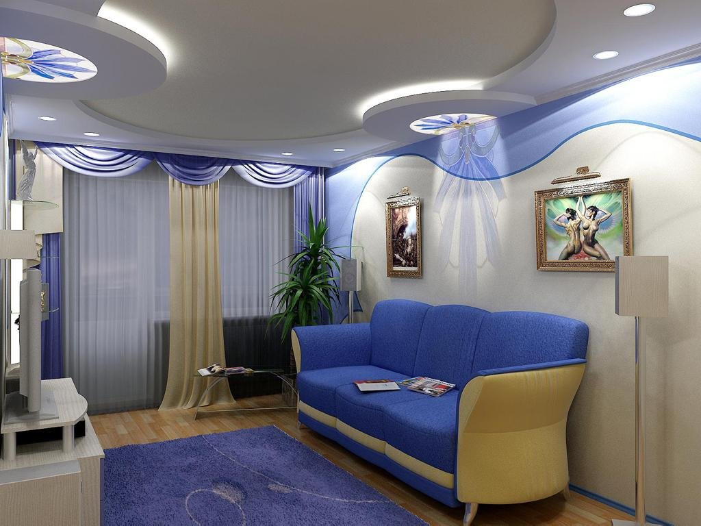 Дизайн натяжного потолка в стильной гостиной