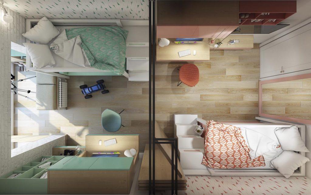 Разделение комнаты для двойняшек перегородкой
