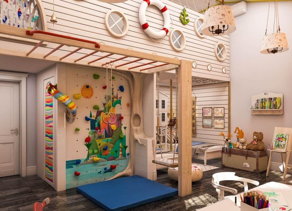 Зона для активных игр и творчества в детской для двух детей