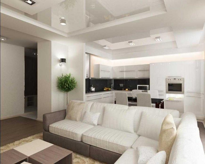 Зонирование кухни с помощью дивана