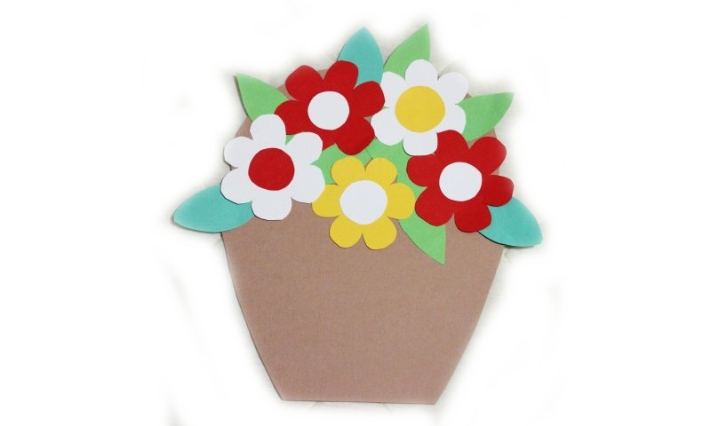 Открытка аппликация цветы в горшке на 8 марта