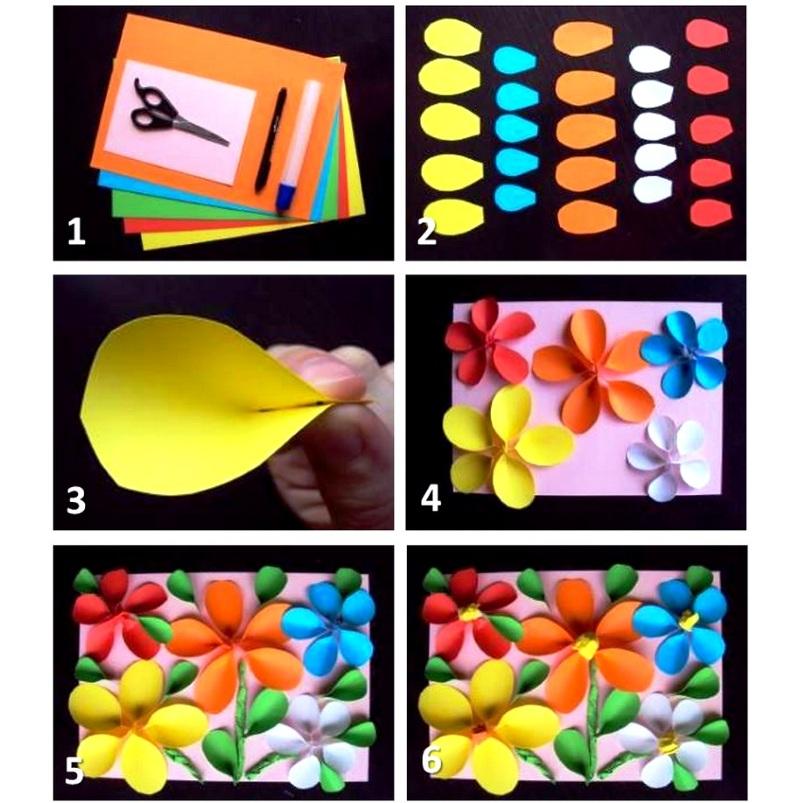 Сделать объемную открытку с цветами на 8 Марта