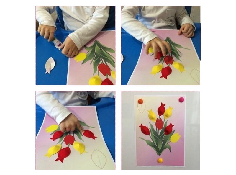 Сделать объемную открытку с тюльпанами на 8 марта своими руками