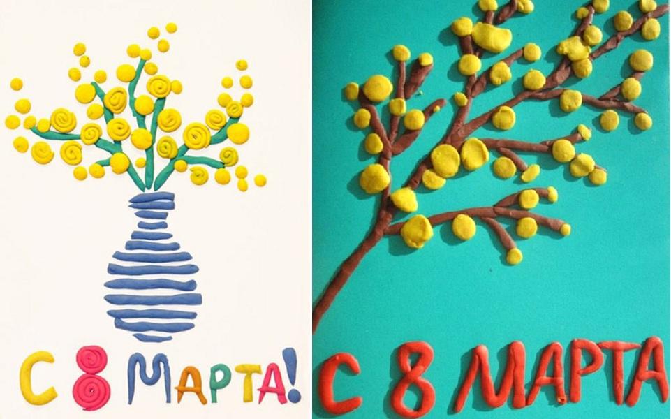 Идеи аппликации из пластилина с мимозой на 8 марта