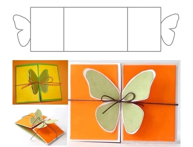 Скачать шаблон открытки с бабочкой на 8 марта