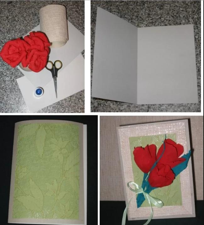 Сделать открытку с цветами из гофрированной бумаги